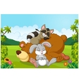 Cartoon wild animals sleeping in the jungle vector image vector image