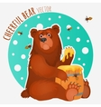 Cheerful bear with bees and honey vector image