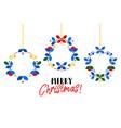 christmas wreath scandinavian style flat vector image