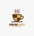 coffee chess logo vector image vector image