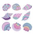 colorful seashells set vector image