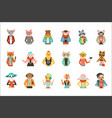 cute humanized animals in fashion clothes set