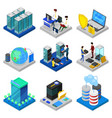 data centre isometric 3d set vector image