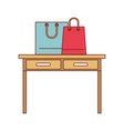 desk table with drawers front view with shopping vector image vector image