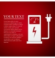 Electric energy supply for car flat icon on red vector image