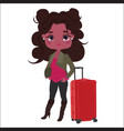 fashionable girl with red suitcase vector image vector image