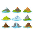 flat set of islands with mountains vector image vector image