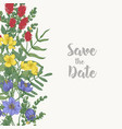 floral square save the date card template vector image vector image