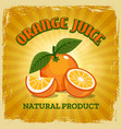fresh orange vintage poster vector image