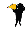 girl with pear in hand silhouette vector image