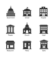 Government building icons vector image vector image