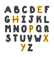 hand drawn english alphabet font cute letters vector image