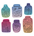 hand drawn floral jars with moth and butterfly vector image vector image