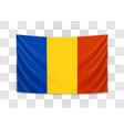 hanging flag romania romania national flag vector image vector image