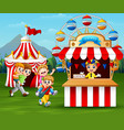 happy children having fun in the amusement park vector image vector image