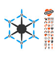 hexacopter icon with love bonus vector image vector image