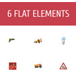 icons flat style drill workman sign toolbox and vector image