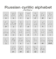 icons with written russian cyrillic alphabet vector image