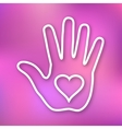 Linear of Hand print with heart icon vector image
