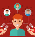 man character viral content magnet attracts vector image vector image