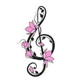 music key with flowers vector image vector image