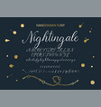 nightingale handdrawn calligraphic font vector image vector image