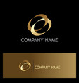 ovale connection gold logo vector image vector image