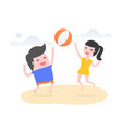 people play beach ball on beach vector image