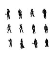 people standing black silhouette vector image