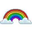 pixel rainbow with clouds isolated vector image vector image