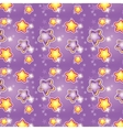 seamless pattern cartoon stars on a purple vector image vector image