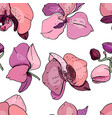 seamless pattern with orchids endless texture fo vector image vector image