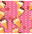 Seamless pattern with Vanilla Ice cream cones with vector image vector image