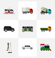 Set of 9 editable automobile icons includes vector image