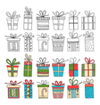 set of gift packages Christmas gifts vector image vector image