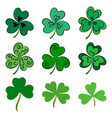 set of green shamrock clovers over white vector image vector image