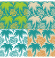 set seamless patterns with palm trees and sun vector image vector image