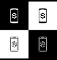 set smartphone with dollar symbol icons on black vector image