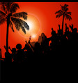 silhouette crowd and palm trees on red background vector image vector image