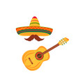 sombrero and mustache acoustic guitar string vector image vector image