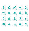 stylized shop and foods icons vector image vector image