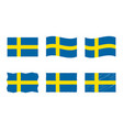 sweden flag set official vector image vector image