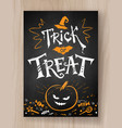 trick or treat postcard chalked design vector image vector image