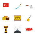 turkey travel icons set flat style vector image