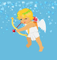 valentine blue card cupid aiming with bow vector image