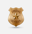 vintage bronze special officer badge with star vector image