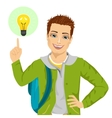 young student boy pointing finger to light bulb vector image vector image