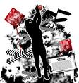 football grunge vector image