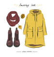 a set of autumn outfit with accessories parka vector image vector image