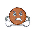 angry chocolate biscuit mascot cartoon vector image vector image